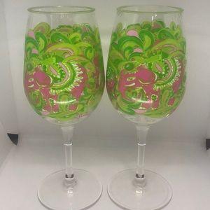 Lilly Pulitzer elephant plastic wine glasses
